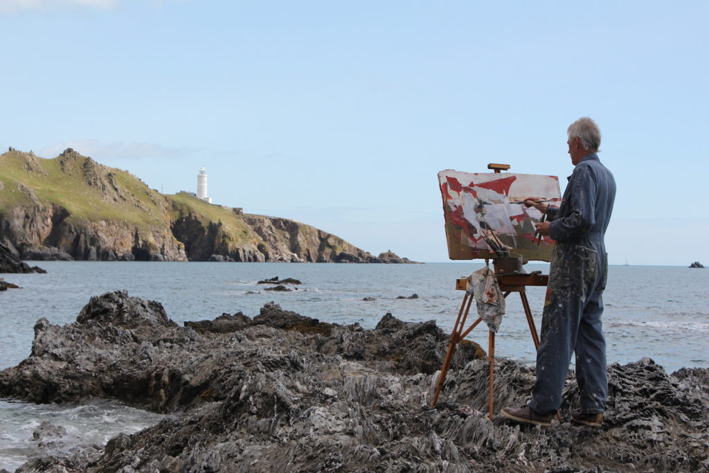 Jeremy Gardiner painting plein air Start Point Devon
