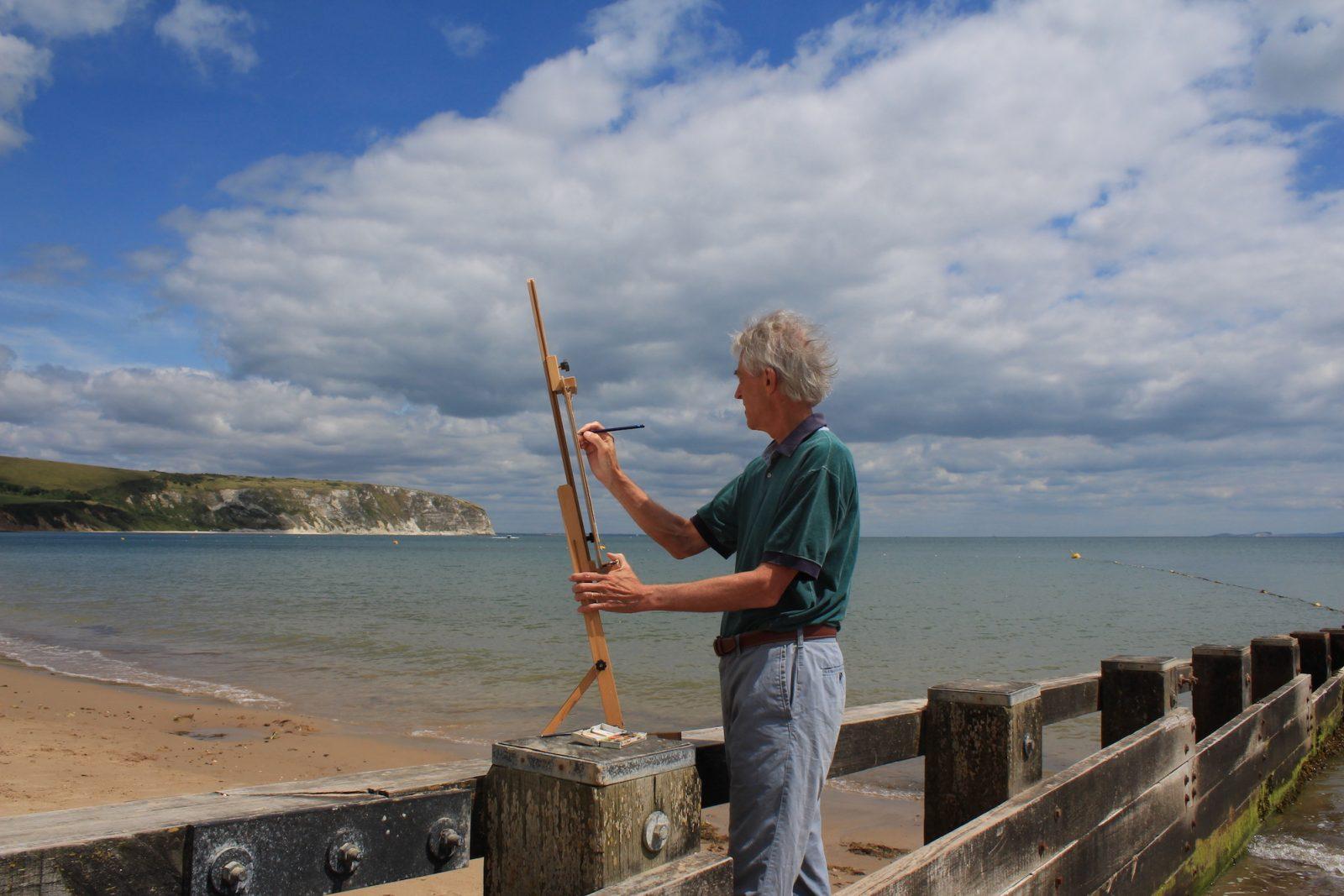 Jeremy Gardiner sketching plein air, Ballard Point, Swanage, Dorset, Plein Air, Jeremy Gardiner